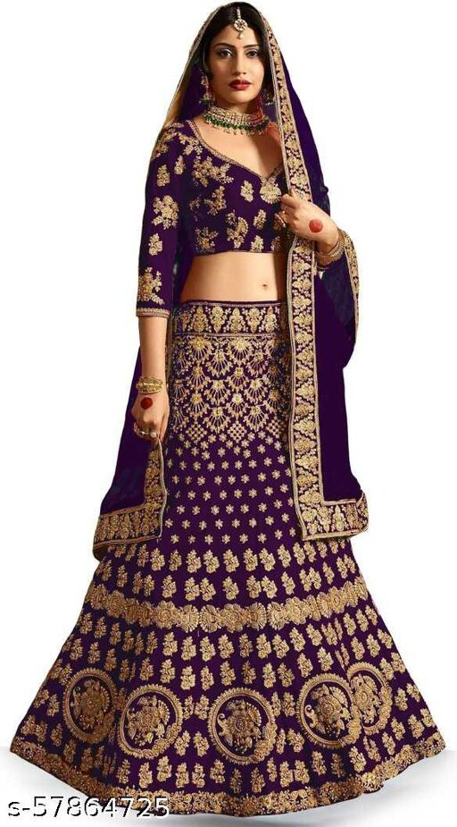 Fancy Satin Lehenga designer latest outfit (Pack Of 1, Purple)