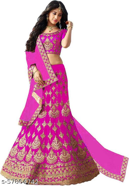 Fancy Silk Lehenga designer latest outfit (Pack Of 1, Pink)