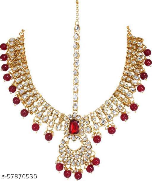 Alloy Gold-plated Jewel Set  (Gold) Maangtika