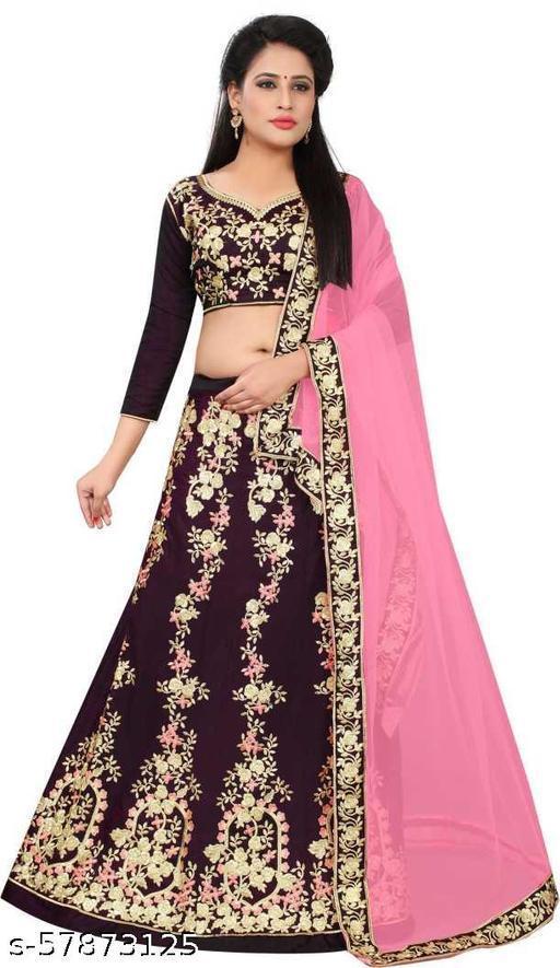 Fancy Lehenga designer latest outfit (Pack Of 1, Purple)