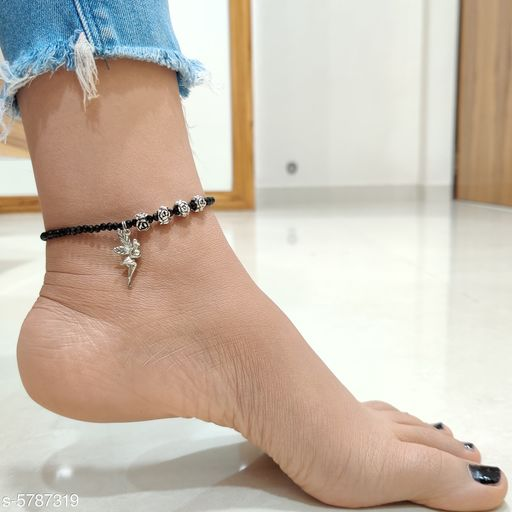 Stylish Oxidized Threadwork Anklets