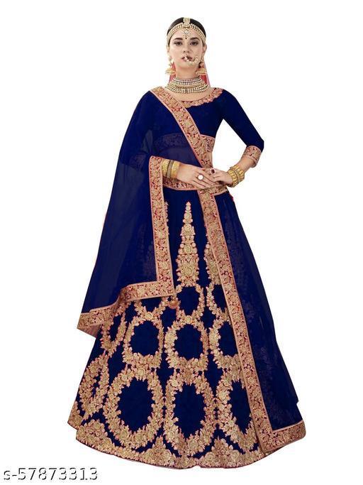 Fancy Lehenga designer latest outfit (Pack Of 1, Blue)