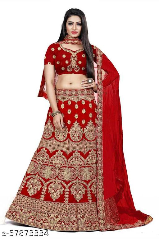 Fancy Lehenga designer latest outfit (Pack Of 1, Red)