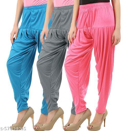 Buy That Trendz Combo Offer Pack of 3 Cotton Viscose Lycra Dhoti Patiyala Salwar Harem Bottoms Pants for Womens Turquoise Grey Rose