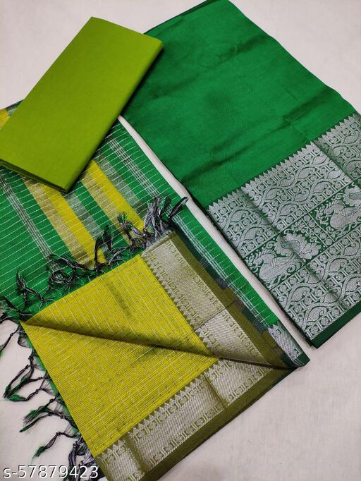 MANGALGIRI PATTU WITH KANCHI SILVER BORDER DRESS MATERIAL