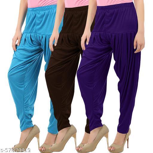 Buy That Trendz Combo Offer Pack of 3 Cotton Viscose Lycra Dhoti Patiyala Salwar Harem Bottoms Pants for Womens Turquoise Chocolate Brown Violet
