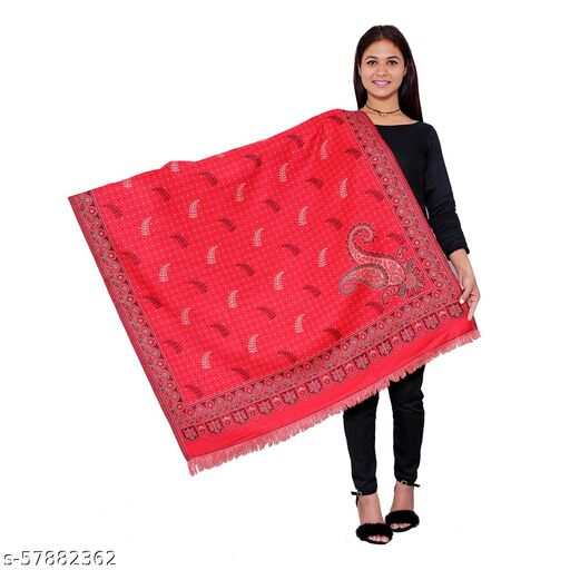 Stolr Acrylic Red Color Women Shawl