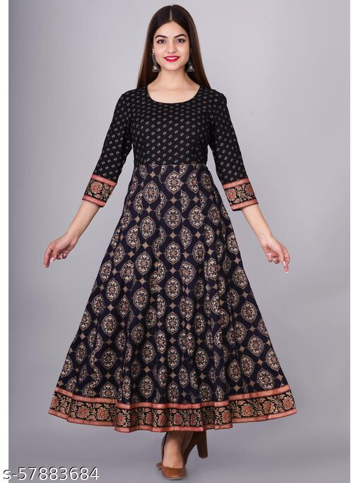 Gold Printed Anarkali Dress