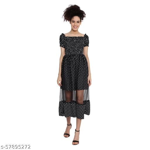 Anaghakart Crepe Dress with the net style