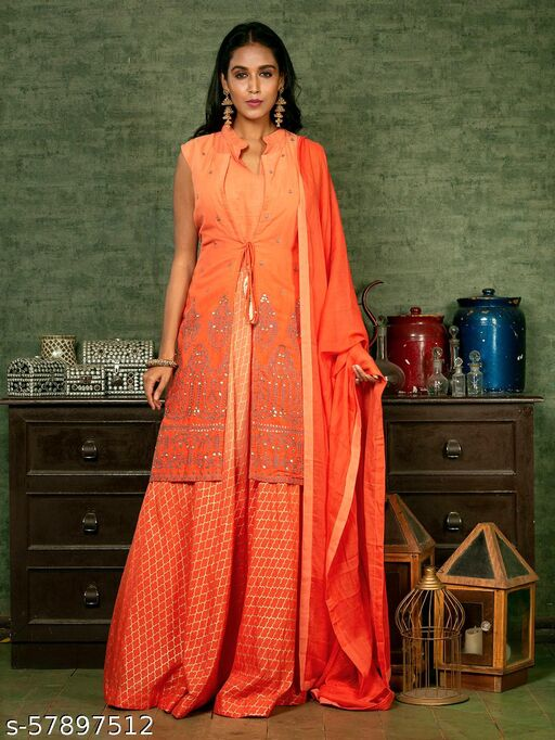 Orange Embroidered Gowns