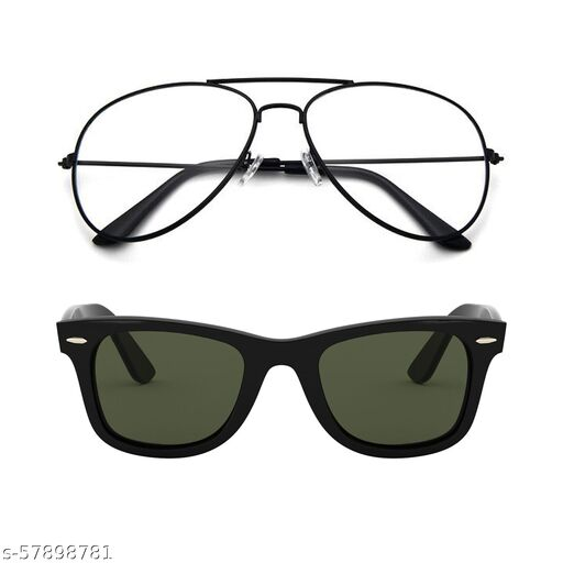 Momentum Clear Lens Aviator With Green Lens Square Sunglasses   Unisex   MM-122
