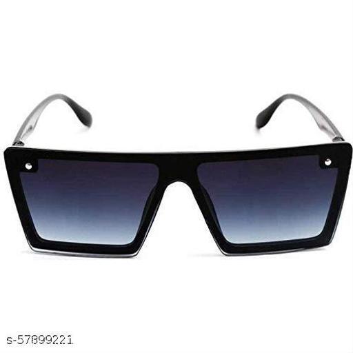 Flat Design Rectangular Sunglasses for Men & Women (Black)