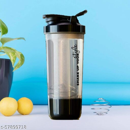 100% Leak Proof BPA Free Material 600ml Protein Shaker Bottle for Protein Mix with Storage Compartment and Stainless Steel Blender Ball for Pre/Post Workout Drinks, Gym