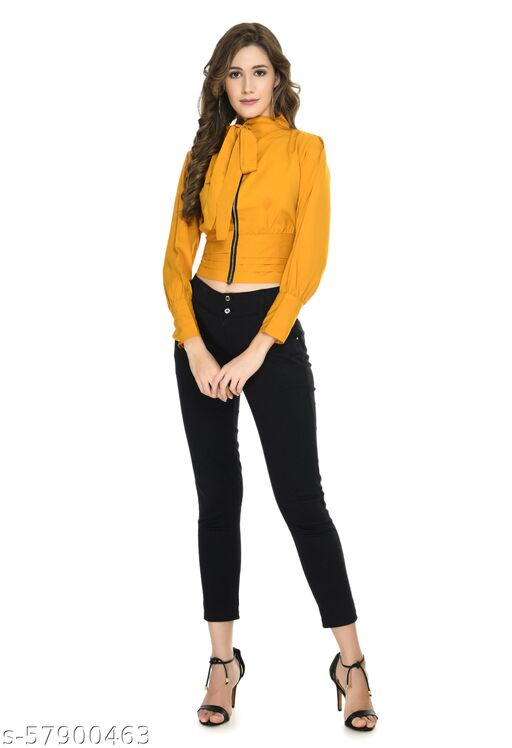 Women Ploy Crepe Stylish Zip Closer with Full Sleeves for Jeans and Shorts Tops & Tunics