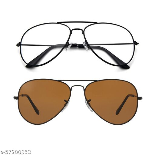 Momentum Clear Black Aviator With Brown Black Aviator Sunglasses   Free Size   MM-129