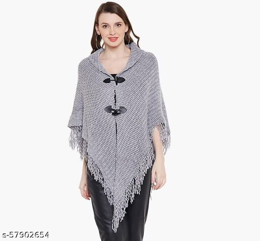 Natty IndiaGrey Self Design With Front Buttons Wool Blend Poncho Free Style