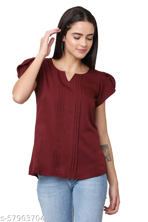 Liqvid Casual Solid Women Maroon Top