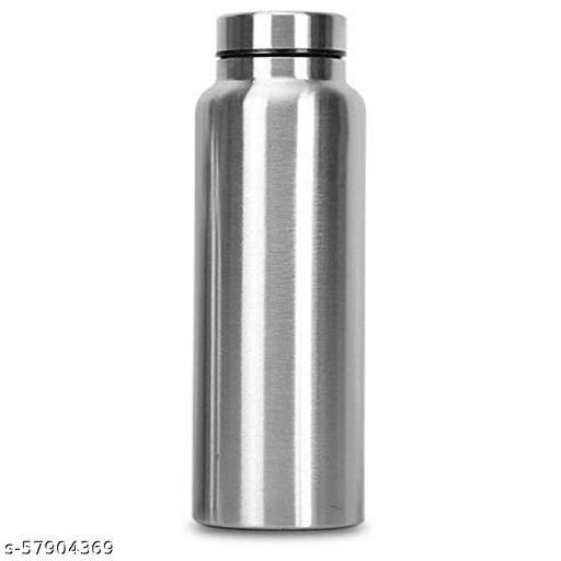 Crispy™ Stainless Steel Single Walled Fridge Water Bottle (1000ml, Silver) Brand: crispy