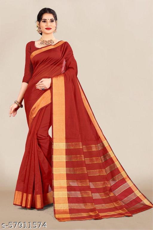 SONI-CREATION Women's Cotton Saree with Unstitched Blouse Piece