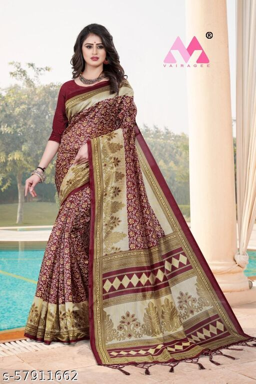 SONI-CREATION Women's Kaveri Silk Saree with Unstitched Blouse Piece