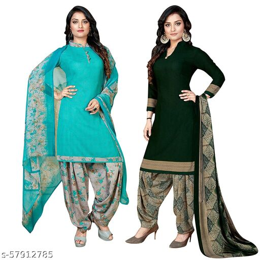 Anny Deziner Women's Blue And Green  Cotton Printed Unstitched Salwar Suit Material (Combo of 2)