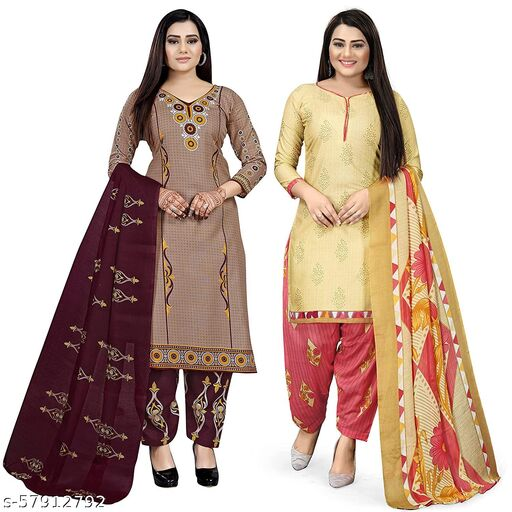Anny Deziner Women's Beige And Crème  Cotton Printed Unstitched Salwar Suit Material (Combo of 2)