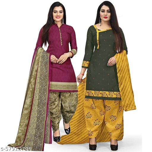 Anny Deziner Women's Purpale And Green  Cotton Printed Unstitched Salwar Suit Material (Combo of 2)