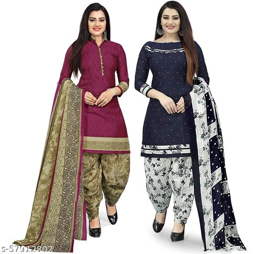 Anny Deziner Women's Purple And Navy Blue   Cotton Printed Unstitched Salwar Suit Material (Combo of 2)