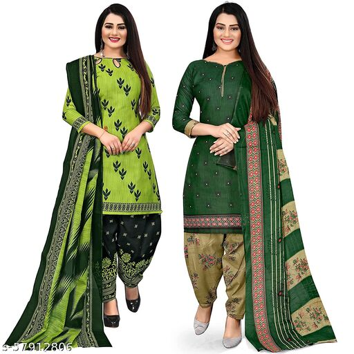 Anny Deziner Women's Green And Green  Cotton Printed Unstitched Salwar Suit Material (Combo of 2)
