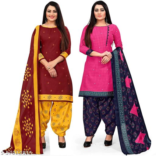 Anny Deziner Women's Dark Maroon And Pink  Cotton Printed Unstitched Salwar Suit Material (Combo of 2)