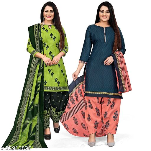 Anny Deziner Women's Green And Blue  Cotton Printed Unstitched Salwar Suit Material (Combo of 2)
