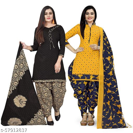 Anny Deziner Women's Black And Yellow  Cotton Printed Unstitched Salwar Suit Material (Combo of 2)