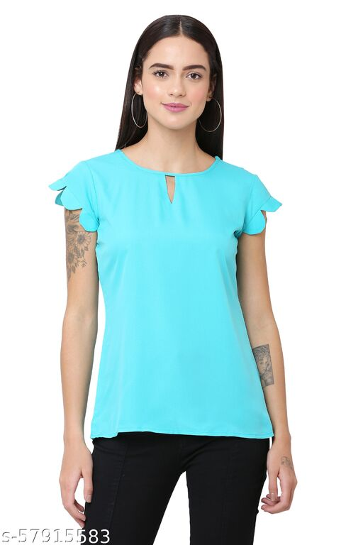 Casual Cap Sleeves Solid Women Light Blue Top