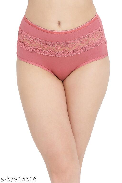 Cotton High Waist Hipster Briefs with Lace Insert