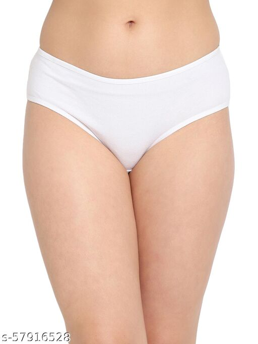 Mid Waist Text Print Hipster Panty in White - Cotton