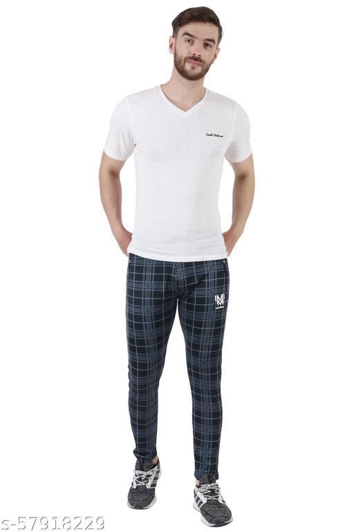 Checkered men black track pants