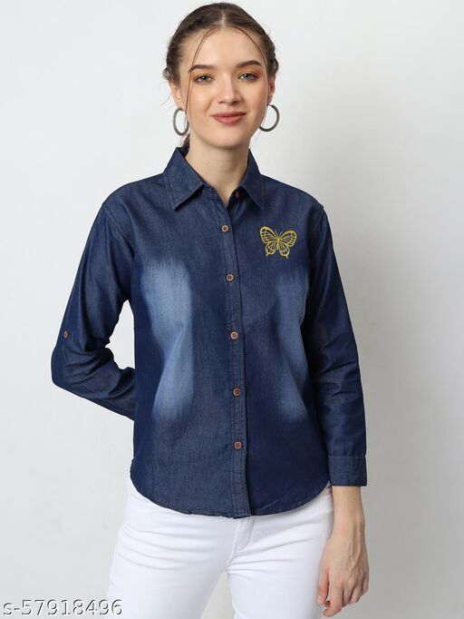 dockstreet Women's Denim Butterfly Printed Casual Shirt