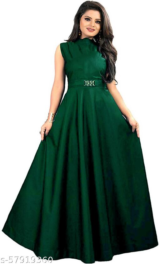 Flowral's Tafetta Fabric Green Color Gown