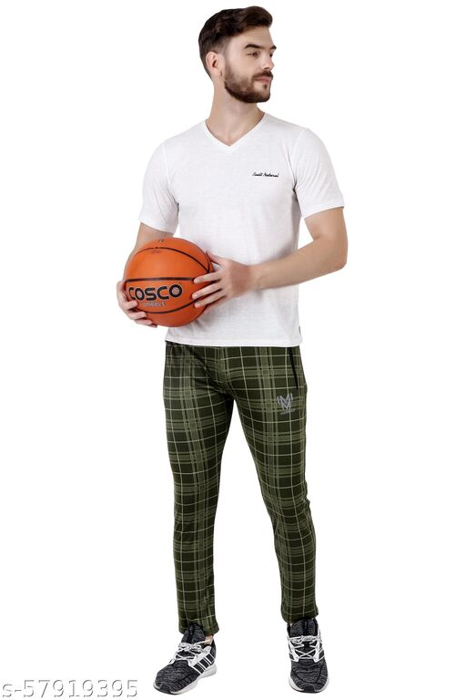 Checked Men Green Track Pants
