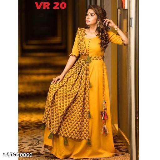 Mustard Yelloe Anarkali Gowns