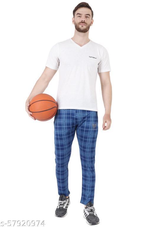 checkered men dark blue track pants