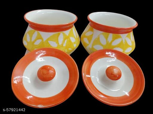 Ceramic Matt Finish Handi with Lid (Set of 2, 300 ml),   Dahi Handi   Serving Pot   Biryani Handi
