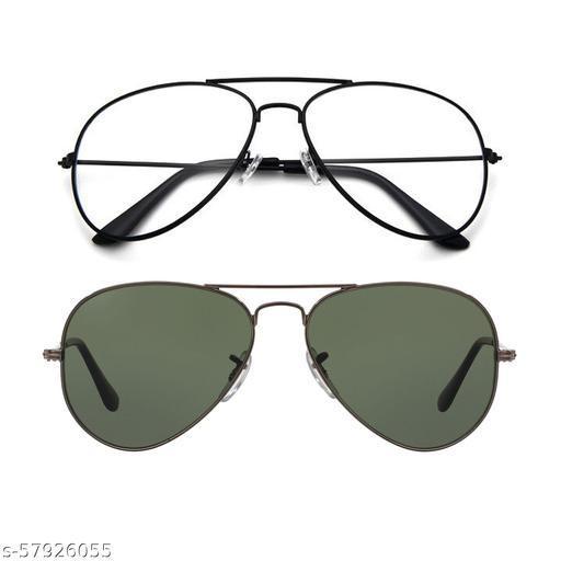Momentum Clear Black Aviator With Green Black Aviator Sunglasses   Unisex   MM-131