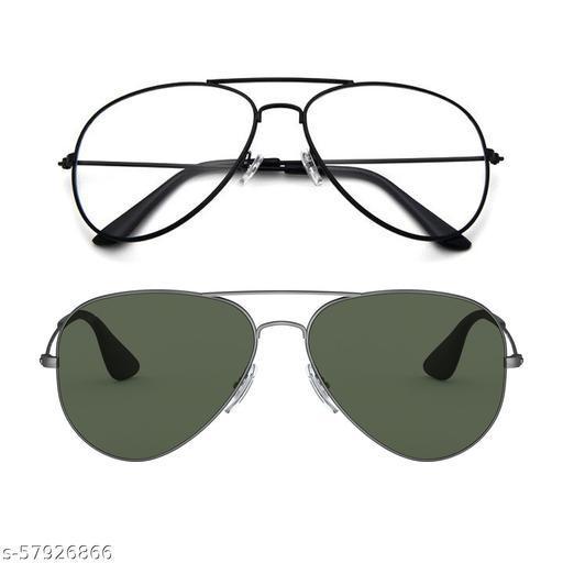 Momentum Clear Black Aviator With Green Black Aviator Sunglasses   Unisex   Free Size   MM-133