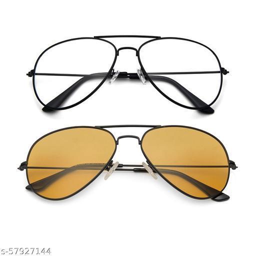 Momentum Clear Black Aviator With Yellow Black Aviator Sunglasses   Unisex   MM-134