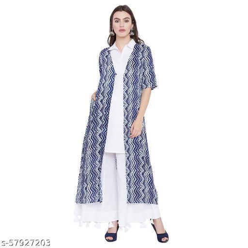 two piece kurta with floor length shrug