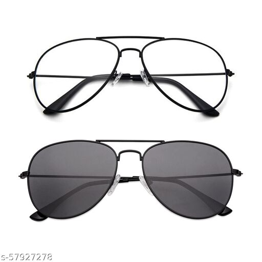 Momentum Clear Black Aviator With Black Black Aviator Sunglasses   Unisex   Free Size   MM-135