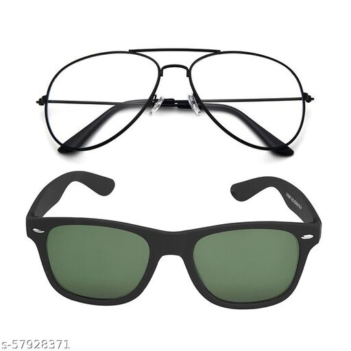 Momentum Clear Black Aviator With Green Black Square Sunglasses   Unisex   Free Size   MM-139