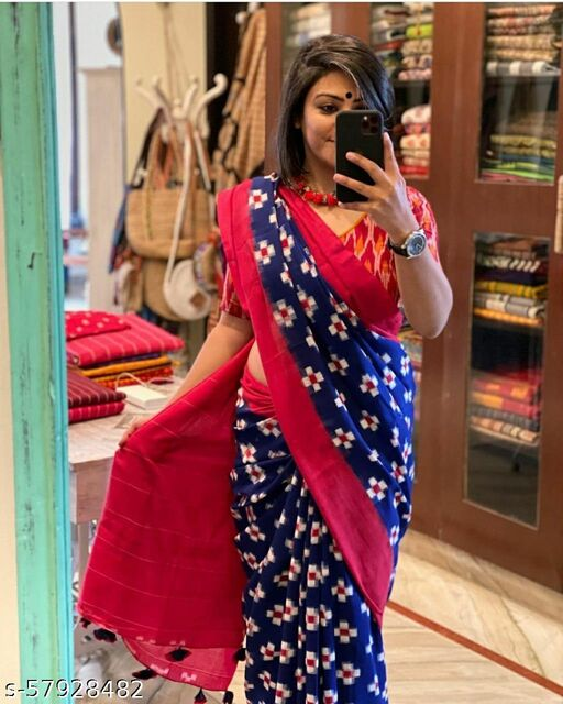 New Traditional Osm Quality Cotton Mul Mul Stylish ( 5.7 Metter ) Saree With ( 85Cm Unstiched ) Blouse For Women's And Girls