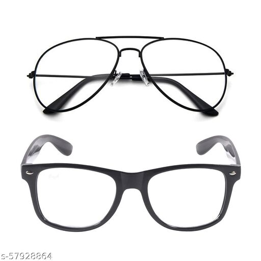 Momentum Clear Black Aviator With Clear Black Square Sunglasses   Unisex   Free Size   MM-140